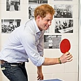 Harry tried his hand at ping pong while on tour in New Zealand in May 2015.