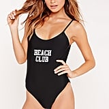 Missguided Beach Club Graphic Swimsuit Black ($30)