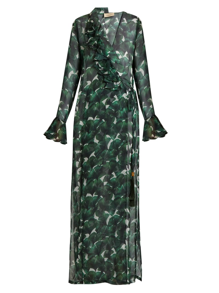 Adriana Degreas Ginkgo-Print Deep V-neck Silk Maxi Dress ($708)