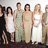 Penelope Cruz, Greta Gerwig, Alison Pill, Alessandra Mastronardi, Simona Caparrini, and Woody Allen posed together at the premiere of To Rome With Love in LA.
