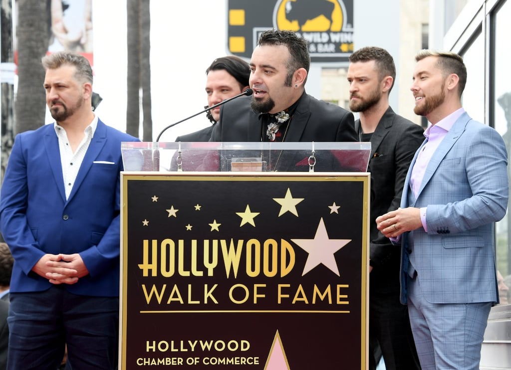 "The men of *NSYNC reunited in LA on Monday, April 30 (yes, one day before ""it's gonna be May"") as they were honored with a star on the Hollywood Walk of Fame. Justin Timberlake, JC Chasez, Lance Bass, Joey Fatone, and Chris Kirkpatrick were all smiles as they posed for photos at the event, where they were saluted in speeches by Ellen DeGeneres and Carson Daly. Also on hand to see their big milestone was Justin's wife, Jessica Biel, as well as his mom Lynn Bomar Harless. Seeing them all together sure does make me feel like a teenager again — maybe it's finally time to tape that noodle-haired JT poster back to my ceiling.  Before reconnecting with his bandmates, Justin performed two back-to-back shows at The Forum in LA over the weekend, which brought out high-profile celebrities like Ellen DeGeneres and Portia de Rossi, as well as other former boybanders like Nick Lachey and AJ McLean. Keep reading for all the fun photos from *NSYNC's Hollywood star ceremony, then look back on the 33 moments from their time together that you'll never forget."