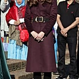 Kate wearing a coat by an independent dressmaker in October 2012.