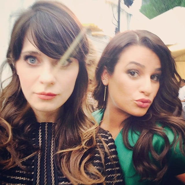 Lea Michele and Zooey Deschanel snapped a selfie. Source: Instagram user msleamichele