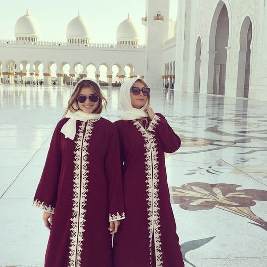 Paris Hilton Wears Abaya to Abu Dhabi Grand Mosque 2016
