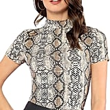 MakeMeChic Women's Short Sleeve Snakeskin Turtle Neck Slim T-Shirt