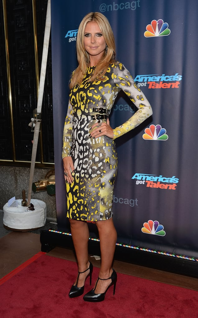Heidi Klum worked her curves in animal print on the red carpet for America's Got Talent.