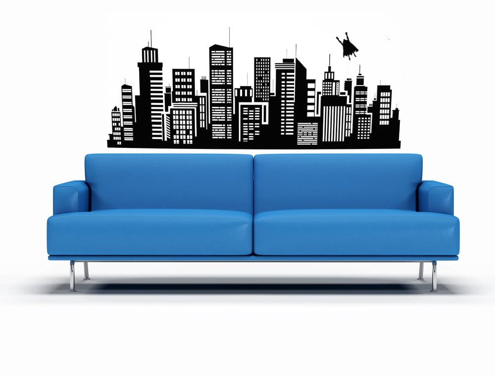 Superhero Flying Over the City Wall Decal