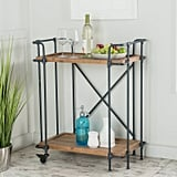 LLC Colleen Antique Finish Firwood and Iron Coffee Cart