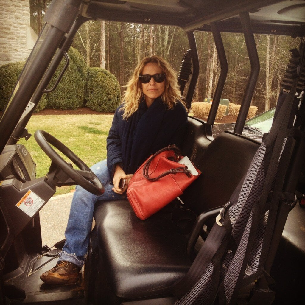 Sheryl Crow took a golf cart to the studio. Source: Twitter user SherylCrow