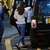Kate Middleton gets into a Range Rover in London.
