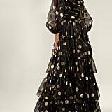 Dolce & Gabbana Polka-Dot Print Tiered Silk-Organza Gown