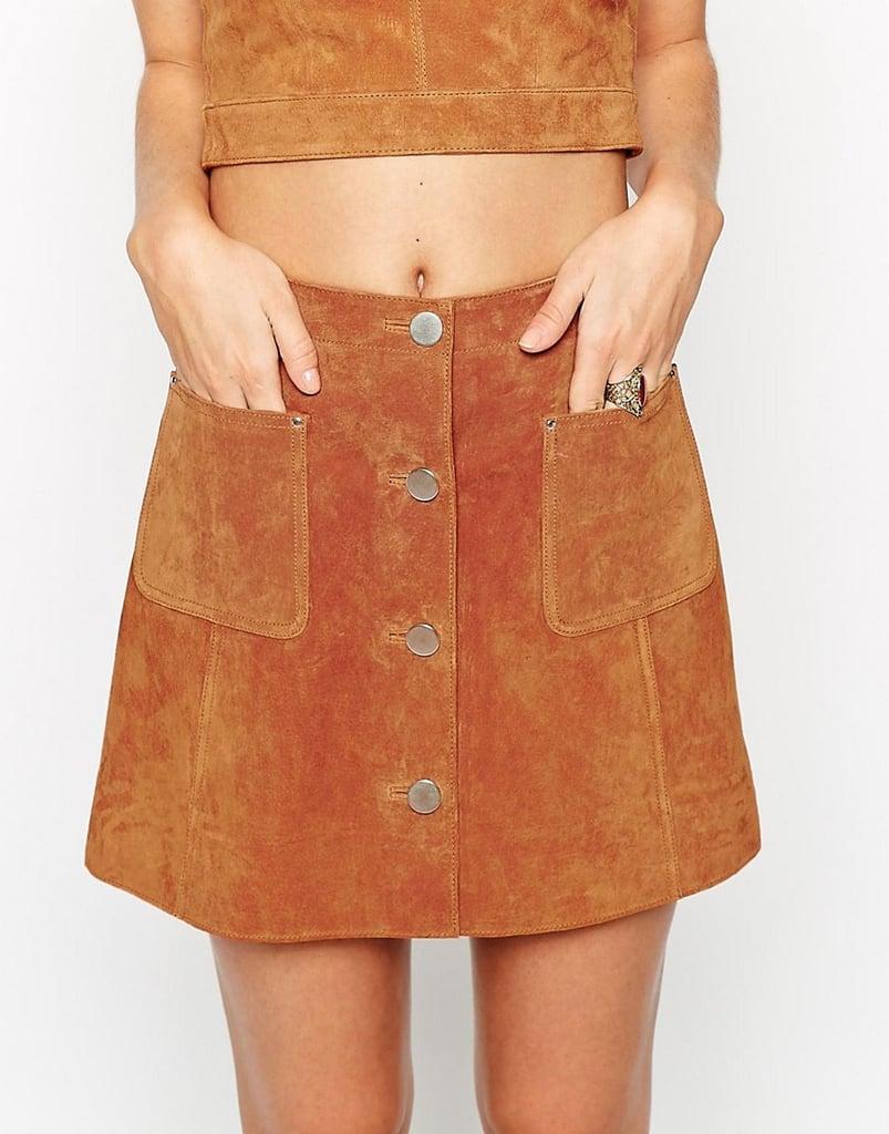 ASOS Button Through A-Line Suede Skirt ($95)