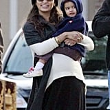 Pregnant Camila Alves had a smile on her face as she held Vida McConaughey in New orleans.