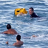 Matt Damon laughed in the water in St. Barts.