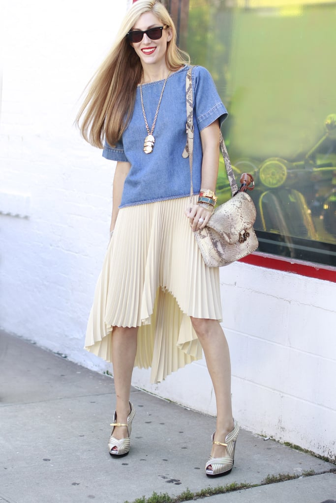 Edge up a ladylike pleated version with a denim top and exotic print accessories like Joanna Hillman.