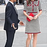 Kate looks down during an official visit.