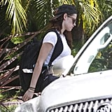 Kristen Stewart wore a backward hat.