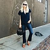 A Suede Top, Flared Jeans, Sandals, and a Statement Bag