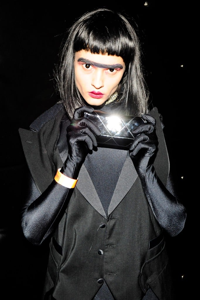 crystal renn showed off her dark side at v magazines halloween party in