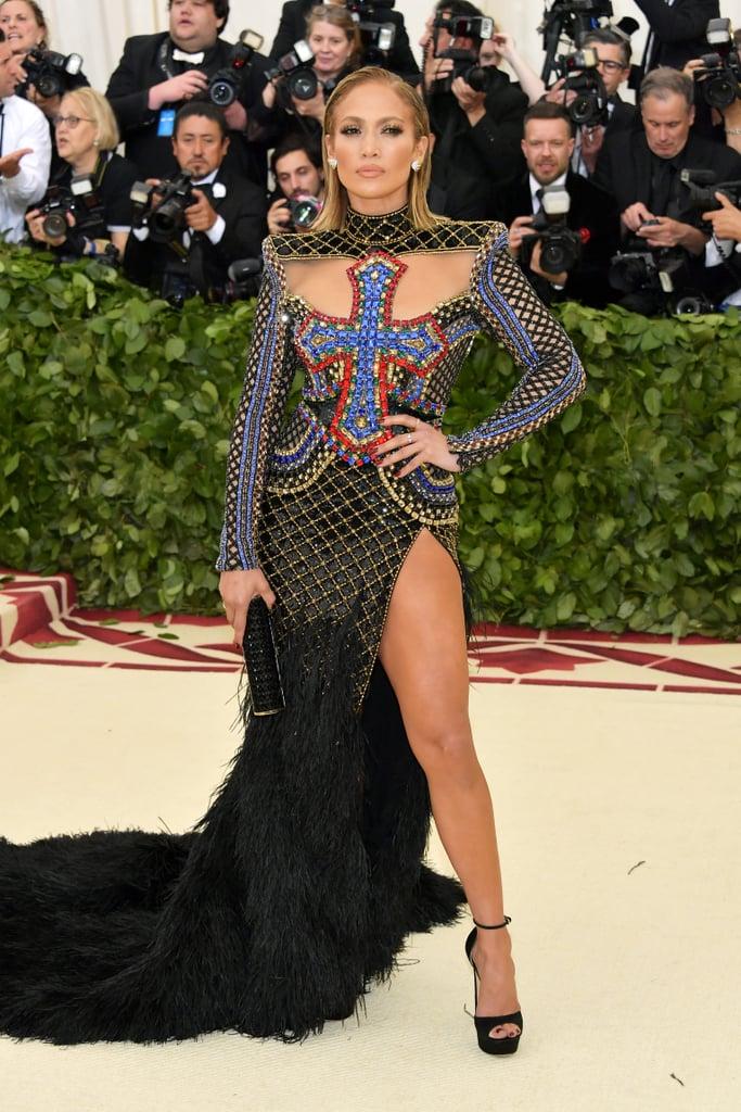Jennifer Lopez Wearing Balmain to the 2018 Costume Institute Gala