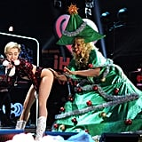 Miley Cyrus twerked with a Christmas tree-clad Amazon Ashley on the stage.