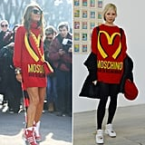Anna Dello Russo was the first to take this cheeky Moschino look for a spin in Milan, but Soo Joo Park showed off the same jumper not too much later in Paris.  Source: Tim Regas and Getty