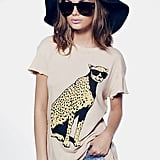 """Everyone at the bar will be talking about your """"cool cheetah tee."""" Wildfox Jungle Cat Desert Crew ($64)"""