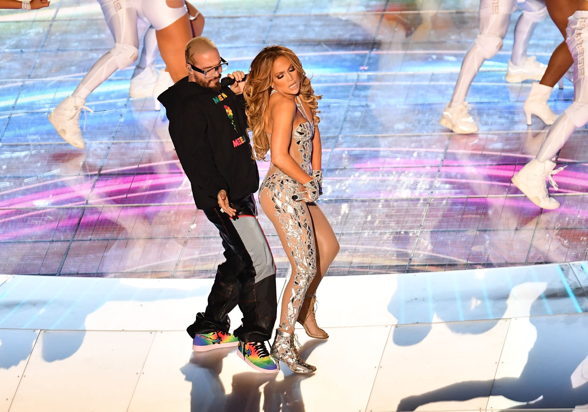 US singer Jennifer Lopez and Colombian singer J Balvin perform during the halftime show of Super Bowl LIV between the Kansas City Chiefs and the San Francisco 49ers at Hard Rock Stadium in Miami Gardens, Florida, on February 2, 2020. (Photo by Angela Weiss / AFP) (Photo by ANGELA WEISS/AFP via Getty Images)