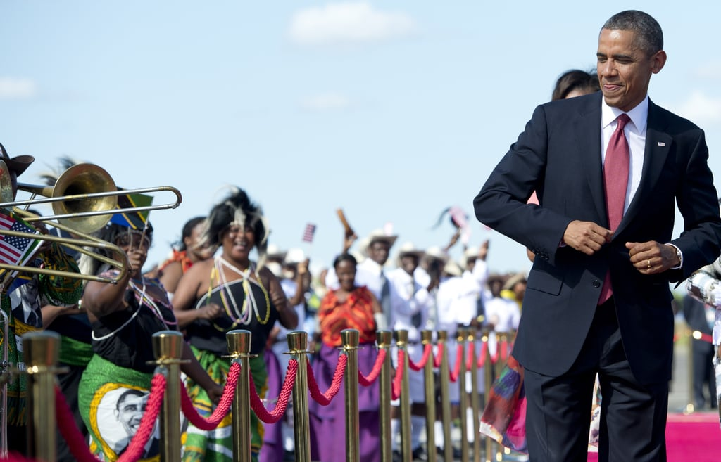President Obama danced to music in Tanzania in July 2013.