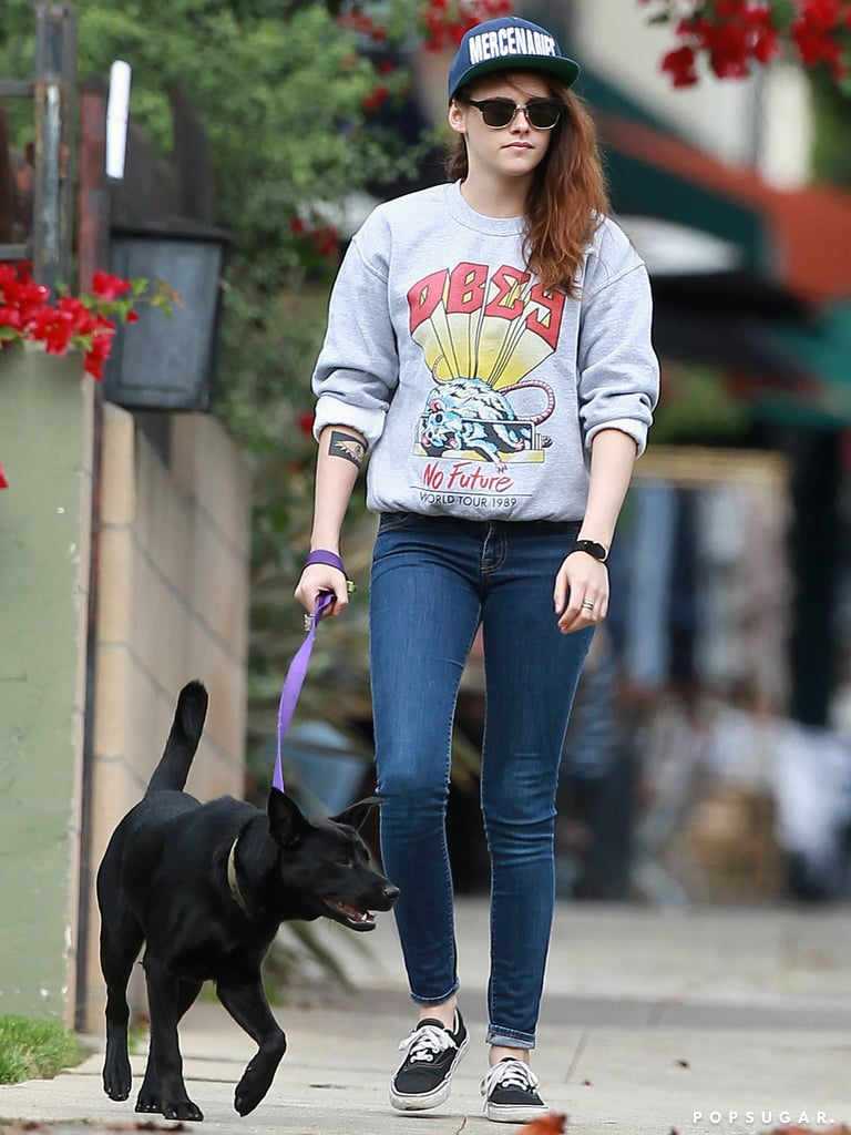 Kristen Stewart took her dog for a walk in LA.