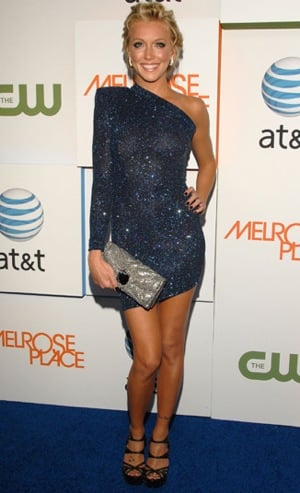 Photo of Katie Cassidy Wearing Navy One Sleeve Dress at Melrose Place Party Premiere in LA