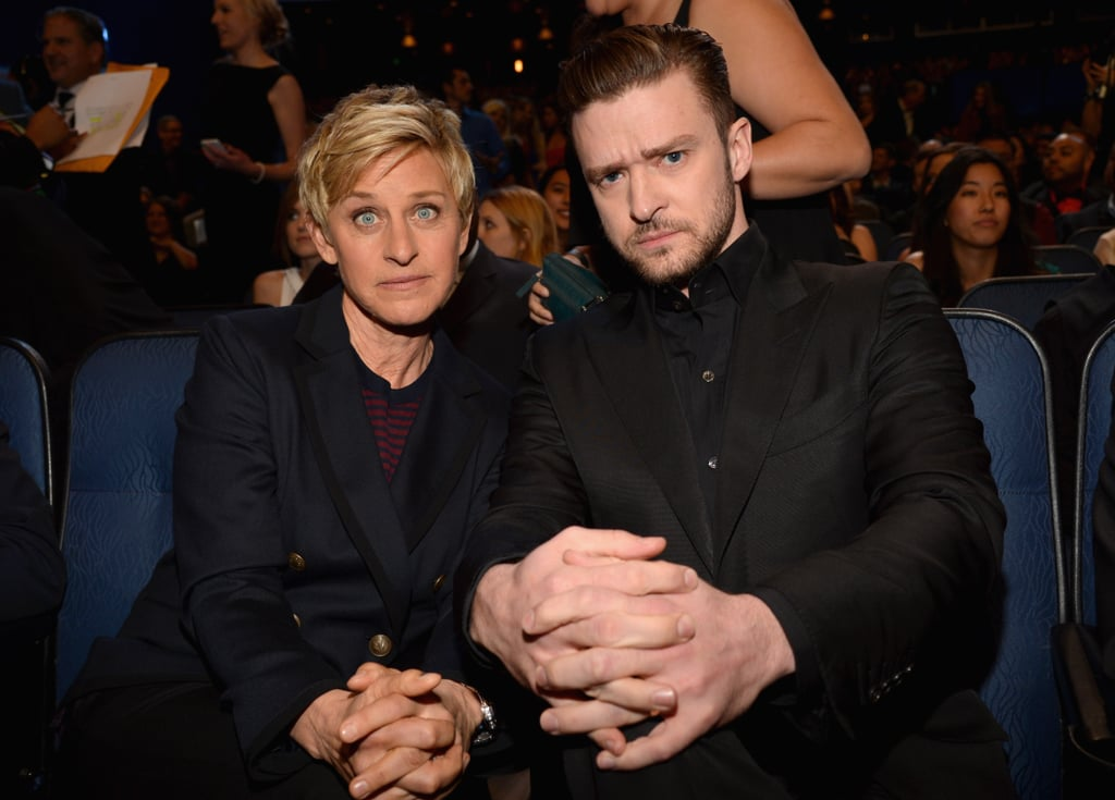 Justin Timberlake and Ellen DeGeneres have been friends for more than a decade, and they've shared plenty of special (and hilarious) moments together. During Justin's first appearance on Ellen's show in 2003 — which you should absolutely watch — she full-on fangirled over him, and she's continued to be one of his biggest supporters. She shared sweet words about Justin and the rest of *NSYNC during the group's recent Hollywood Walk of Fame ceremony, and during their surprise appearance on her show, she cracked up fans when she teased Justin over a game of Never Have I Ever. Meanwhile, Justin has presented Ellen with several honors at award shows over the years, and they're regularly spotted joking around backstage when they attend events together. Check out some of the pair's best moments, then watch *NSYNC's fun appearance on her show.      Related:                                                                                                           30 Times Justin Timberlake Gave You Tunnel Vision