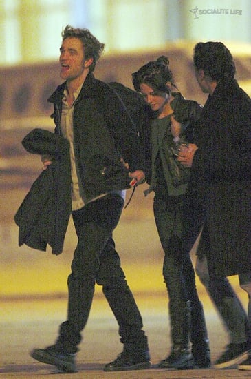 Rob and Kristen seen holding hands as they leave Paris....