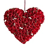Red Wood Curl Roses Heart Shaped Wreath