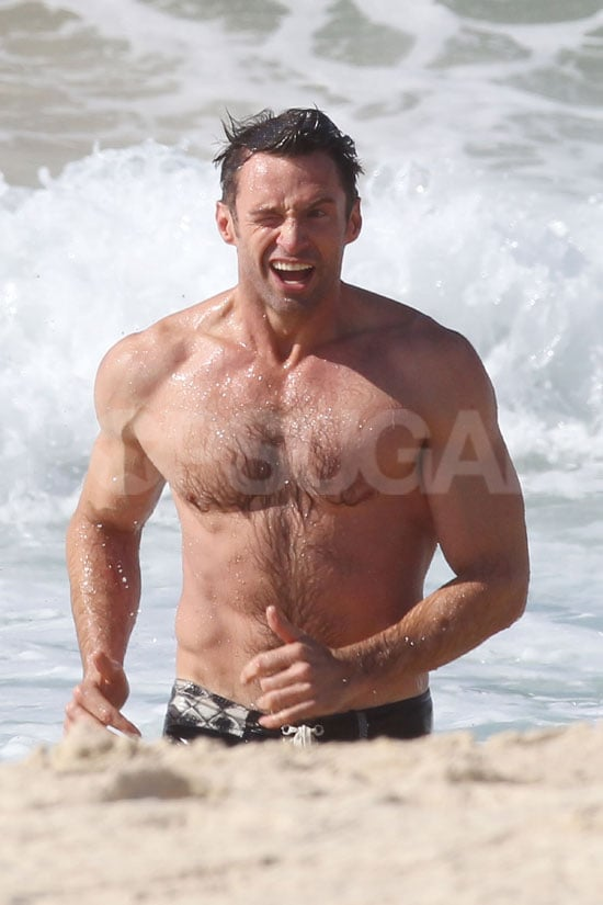 Hugh Jackman followed up a workout with a beach jaunt in Sydney.