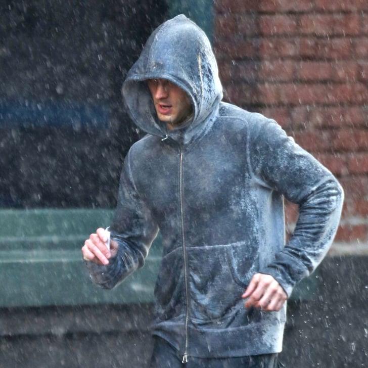 Jamie Dornan Running in Rain | Fifty Shades of Grey Photos