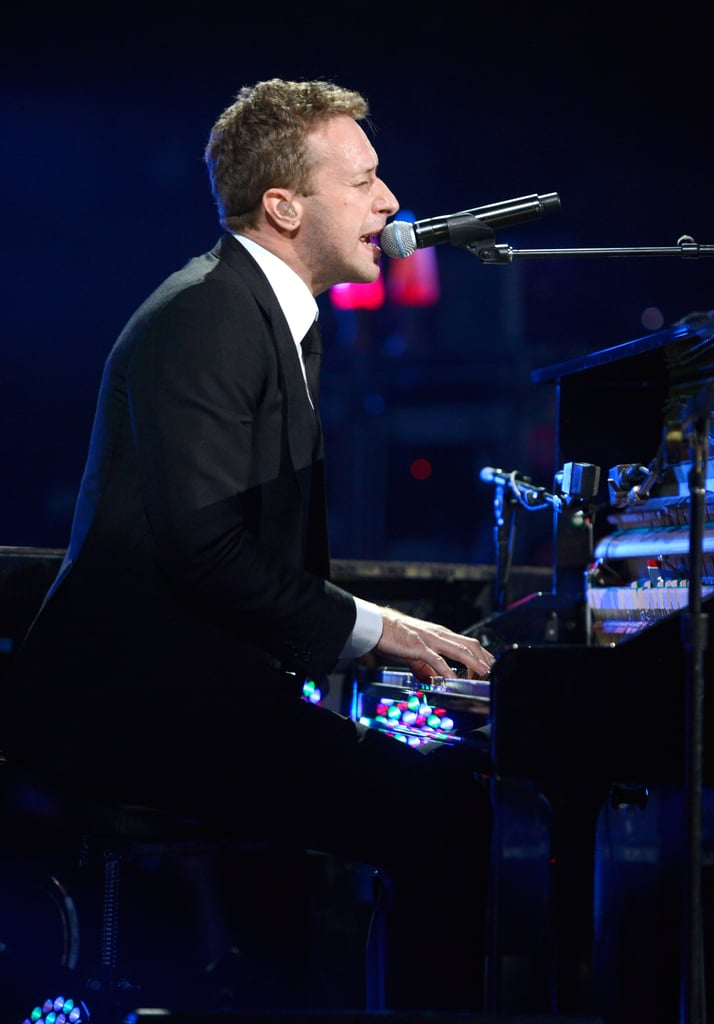 Chris Martin performed at the 12-12-12 Robin Hood Relief Fund concert in NYC.