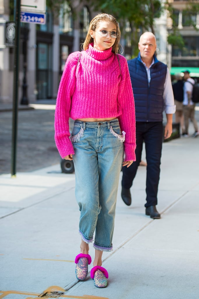 Gigi Hadid Stepped Out in NYC Wearing a Magenta-Coloured Sweater