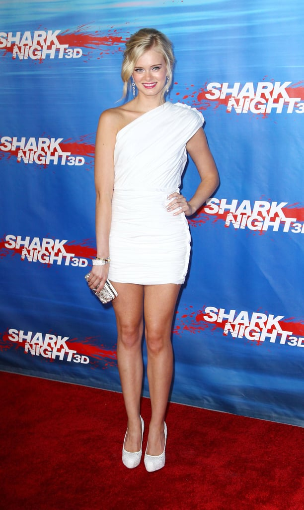 Sara Paxton wore all white to the Shark Night 3D LA  premiere.