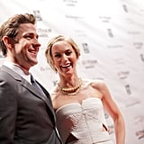 John Krasinski smiled on the red carpet with wife Emily Blunt.