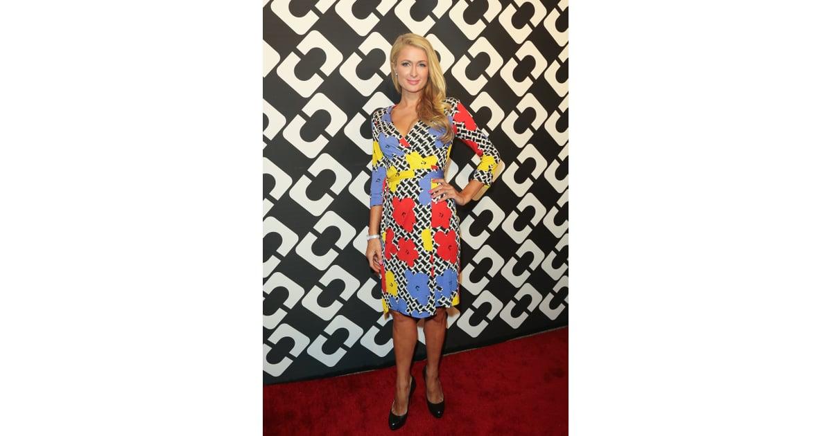 Paris Hilton in a DVF Wrap Dress