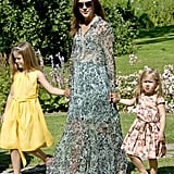 Princess Mary of Denmark wearing a bohemian printed dress.