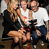 Paris and Nicky Hilton and Terry Richardson took a selfie at Jeremy Scott.