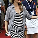 Pregnant Keri Russell at the US Open.