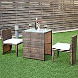 Costway Wicker 3-Piece Collapsable Outoor Bistro Set