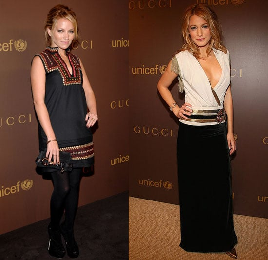 Becki Newton and Blake Lively in Gucci at UNICEF's Snowflake Lighting in NYC