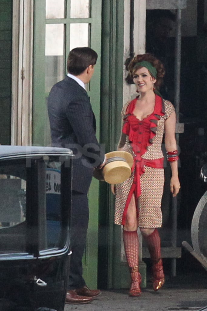Isla Fisher smiled on the set of The Great Gatsby.