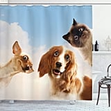 Cat and Dog Friends With Hilarious Expressions Shower Curtain