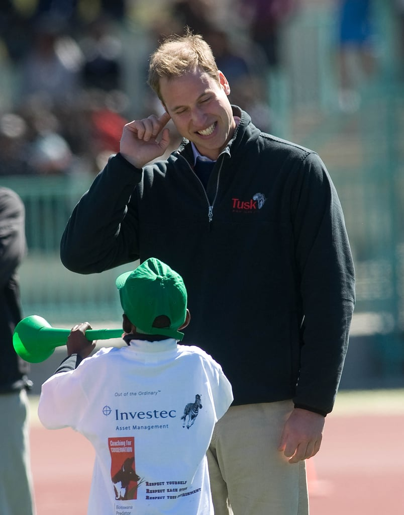 We can't get enough of this shot — William adorably pretended to cover his ears while a little boy played the vuvuzela during a June 2010 visit to a sports stadium in Botswana.