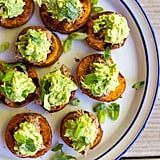 Sweet Potato Bites with Black Bean Hummus and Guacamole